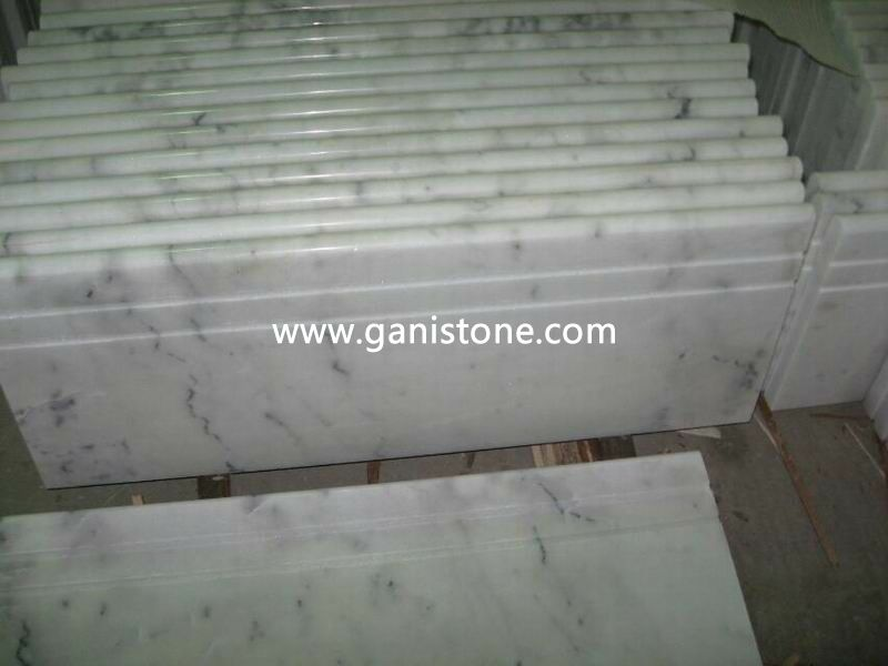 White Marble Stair Tread With Anti Slip Grooves