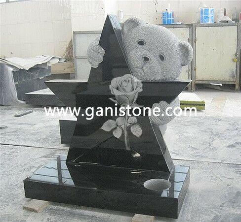 Teddy Bear Holding Star Granite Monument
