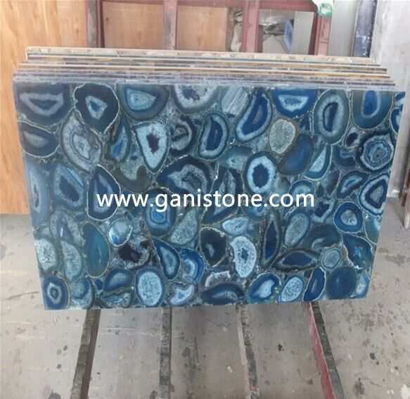Backlit Blue Agate Stone Tile