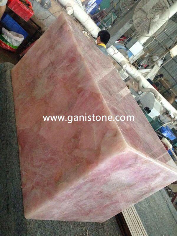 Pink Crystal Quartz Stone Display Stand